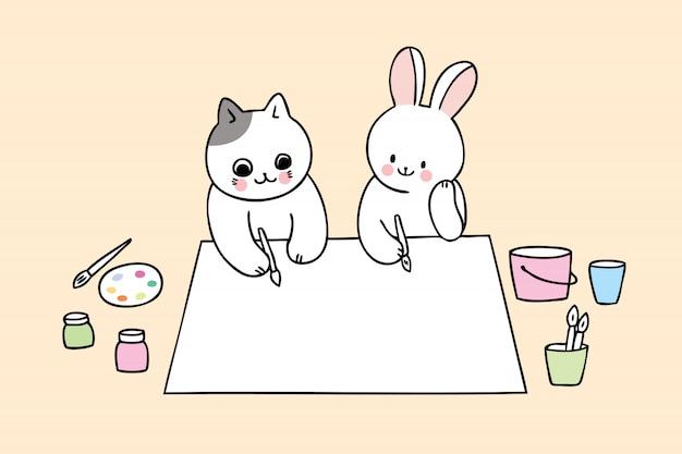 Kreskówka ładny powrót do szkoły kota i królika w klasie sztuki Premium Wektorów