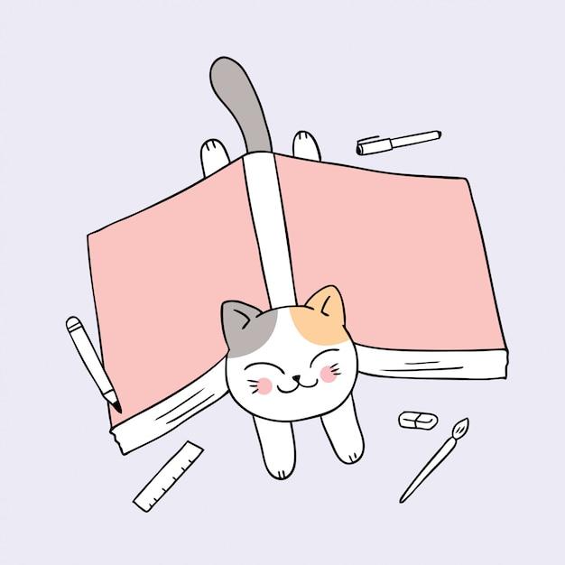 Kreskówka ładny powrót do szkoły kota i książki. Premium Wektorów
