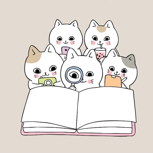 Kreskówka ładny powrót do szkoły kotów czytanie książki Premium Wektorów