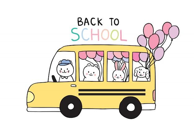 Kreskówka ładny powrót do zwierząt szkolnych i autobusu szkolnego Premium Wektorów