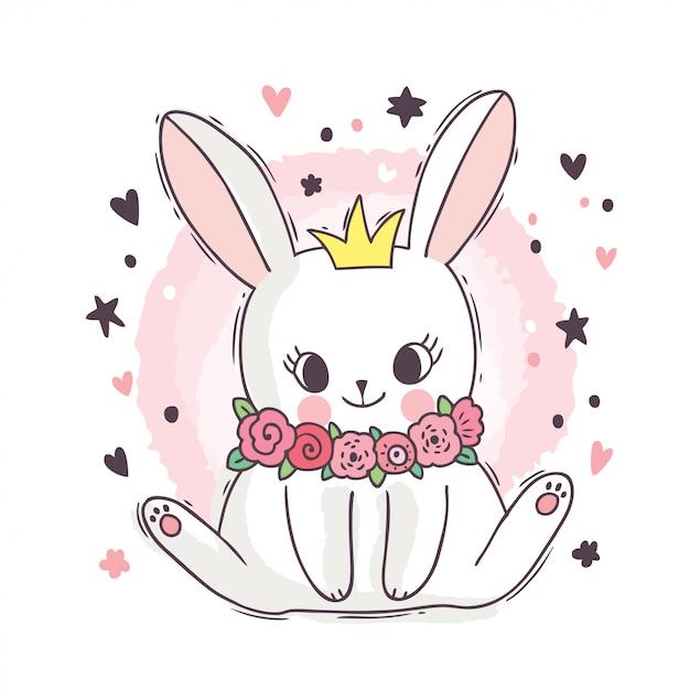 Kreskówka ładny śliczny Biały Królik I Kwiat I Korony Premium Wektorów