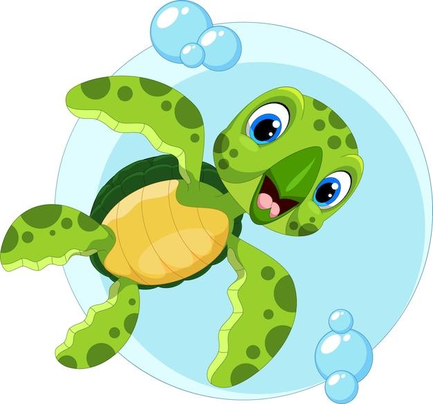Kreskówka ładny żółw Morski Premium Wektorów