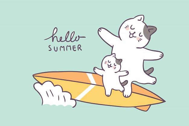 Kreskówka Lato ładny Ojciec I Dziecko Surfowania Premium Wektorów