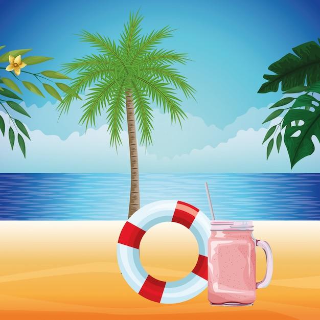 Kreskówka lato plaża i wakacje Darmowych Wektorów