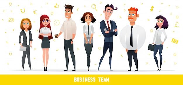 Kreskówka ludzie biznes drużyna znaków płaski styl Premium Wektorów