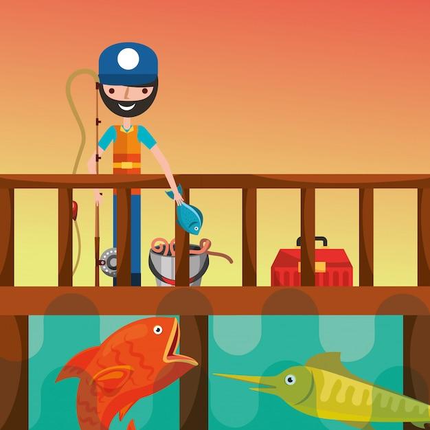 Kreskówka ludzie połowów Premium Wektorów