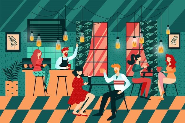 Kreskówka ludzie sit cafe table barista w liczniku Premium Wektorów