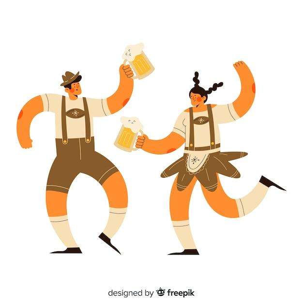 Kreskówka ludzie świętują oktoberfest Darmowych Wektorów