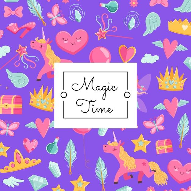 Kreskówka magia i bajka z jednorożcem Premium Wektorów