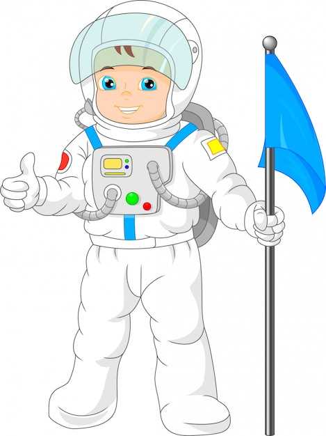 Kreskówka małego chłopca w stroju astronauta Premium Wektorów