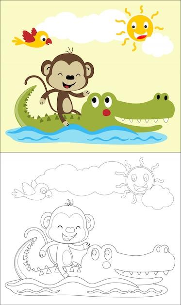 Kreskówka małpia przejażdżka na krokodylu w rzece przy latem Premium Wektorów