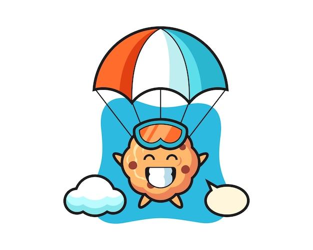 Kreskówka Maskotka Ciasteczka Czekoladowe Skacze Ze Spadochronem Z Szczęśliwym Gestem Premium Wektorów