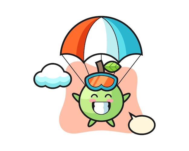 Kreskówka Maskotka Guawa Skacze Ze Spadochronem Z Radosnym Gestem, ładny Styl Na Koszulkę, Naklejkę, Element Logo Premium Wektorów