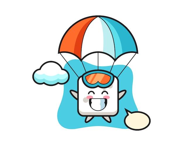 Kreskówka Maskotka Kostki Cukru Skacze Ze Spadochronem Z Radosnym Gestem, Uroczym Stylem Na Koszulkę, Naklejkę, Element Logo Premium Wektorów