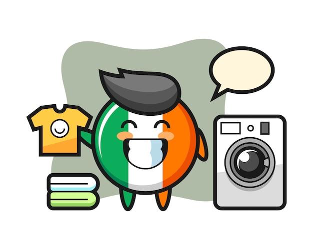 Kreskówka Maskotka Odznaka Flaga Irlandii Z Pralką Premium Wektorów