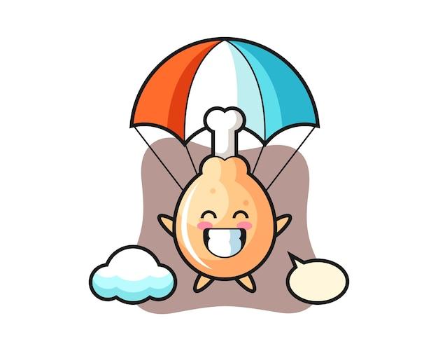 Kreskówka Maskotka Smażonego Kurczaka Skacze Ze Spadochronem Z Radosnym Gestem Premium Wektorów