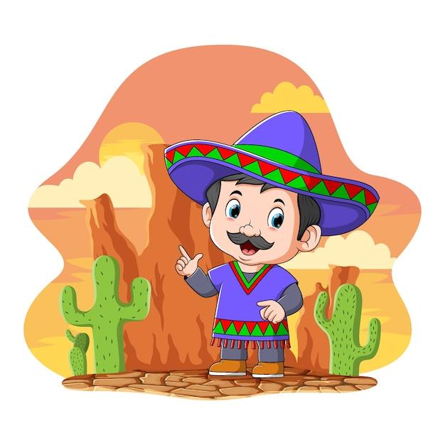Kreskówka Meksykanin Używa Niebieskiego Sombrero Stojącego Pod Pomarańczowym Niebem Premium Wektorów