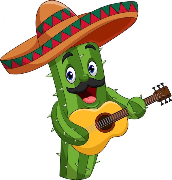 Kreskówka meksykański kaktus gra na gitarze Premium Wektorów