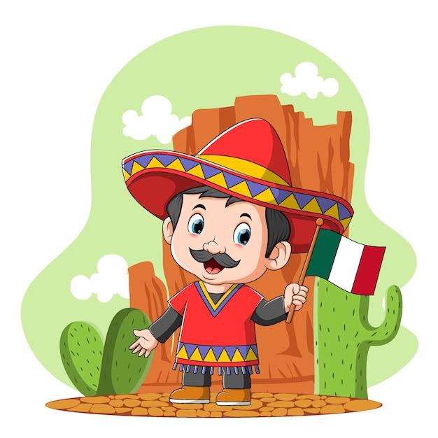 Kreskówka Meksykańskiego Chłopca Używa Sombrero Na Pustyni Premium Wektorów
