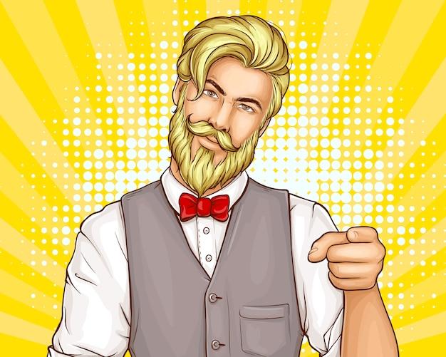 Kreskówka mężczyzna hipster atrakcyjny portret Darmowych Wektorów