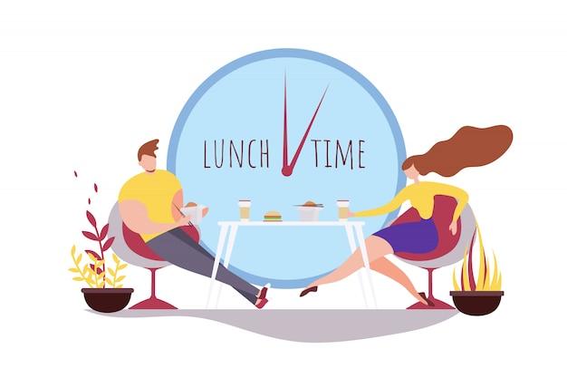 Kreskówka mężczyzna kobieta jedzenie razem obiad czas cafe Premium Wektorów