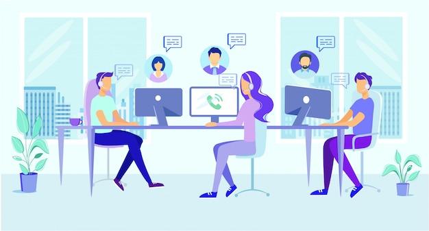 Kreskówka mężczyzna kobieta w słuchawce odpowiedzi klienta połączenia Premium Wektorów
