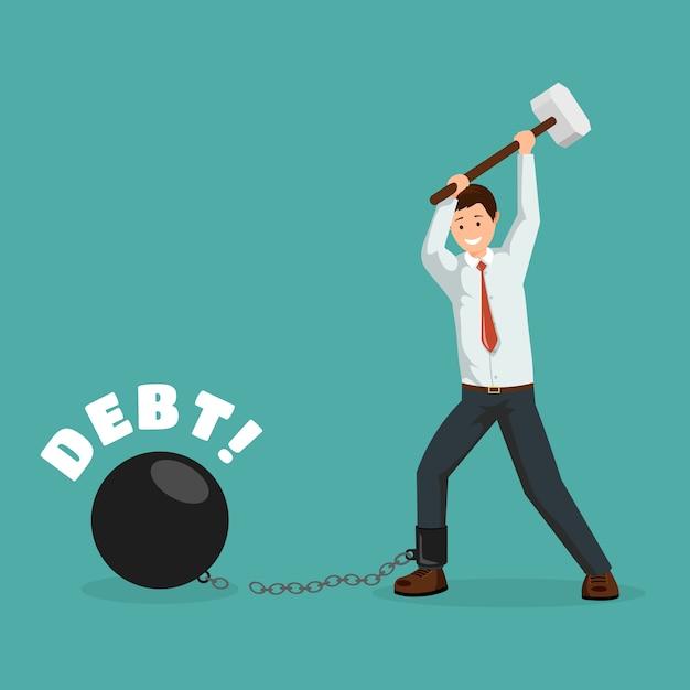 Kreskówka Mężczyzna łamanie łańcuchy Finansowe Z Młotem. Szczęśliwy Dłużnik, Biznesmen Spłacający Długi Premium Wektorów