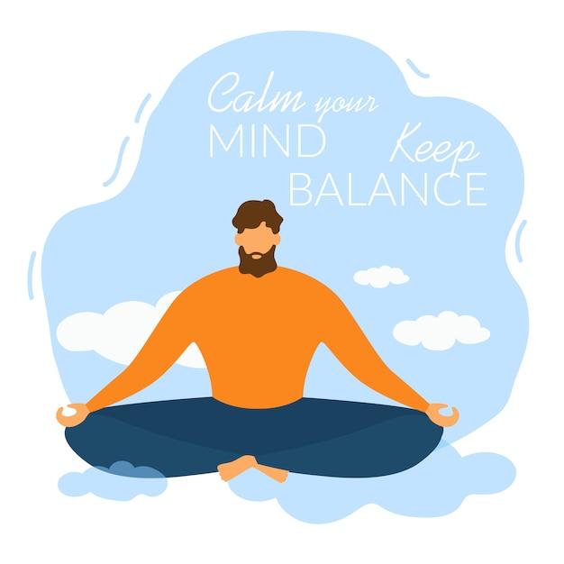 Kreskówka mężczyzna medytuje uspokój swój umysł zachowaj równowagę Premium Wektorów