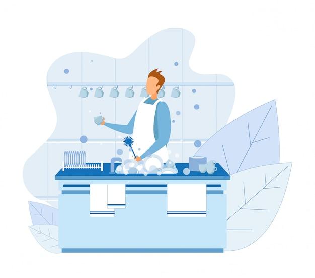 Kreskówka mężczyzna mycie kubka ze szczotką Premium Wektorów