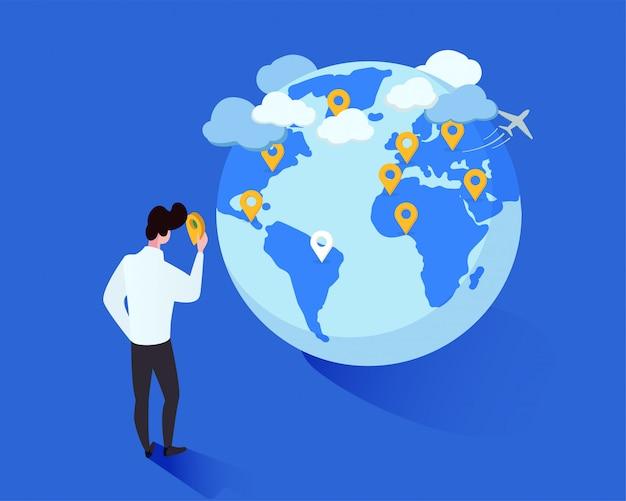 Kreskówka mężczyzna umieszcza geotagi na kuli ziemskiej Premium Wektorów