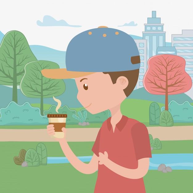 Kreskówka Mężczyzna Z Kubkiem Kawy W Parku Darmowych Wektorów