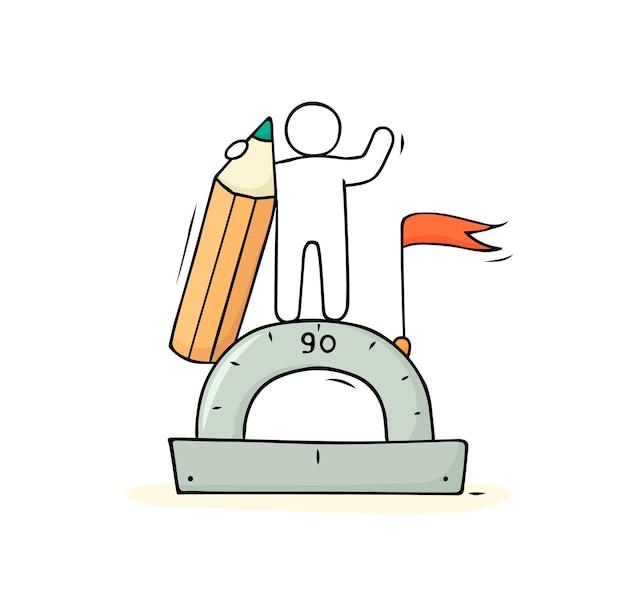 Kreskówka Mężczyzna Z Ołówkiem I Linijką. Doodle ładny Ikona Matematyki. Ręcznie Rysowane Ilustracja Kreskówka. Premium Wektorów