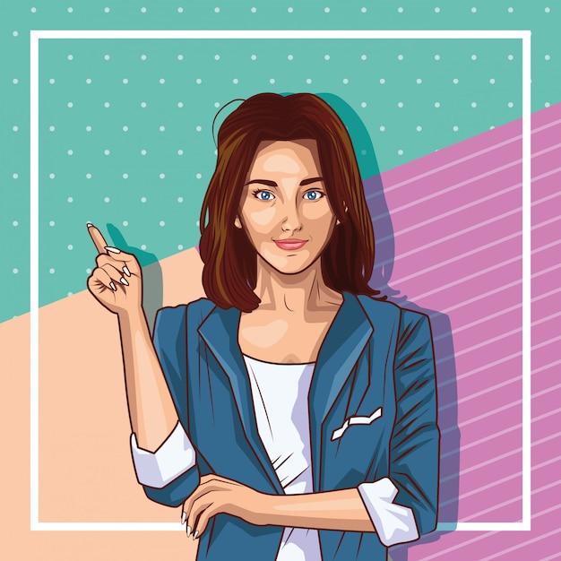 Kreskówka młoda kobieta pop-artu Darmowych Wektorów