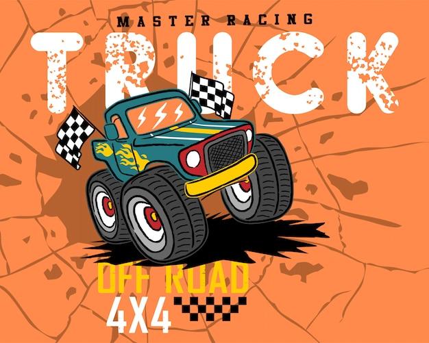 Kreskówka Monster Truck Na Tle Pęknięty Otwór Premium Wektorów