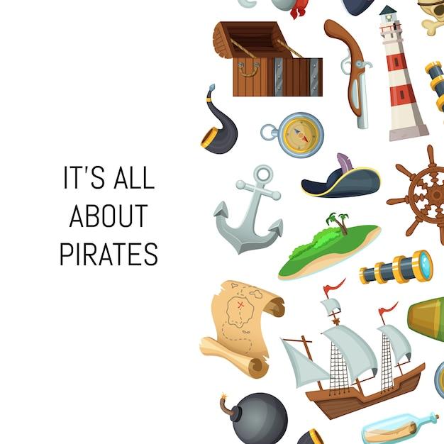 Kreskówka morze piratów tło z miejscem na tekst Premium Wektorów