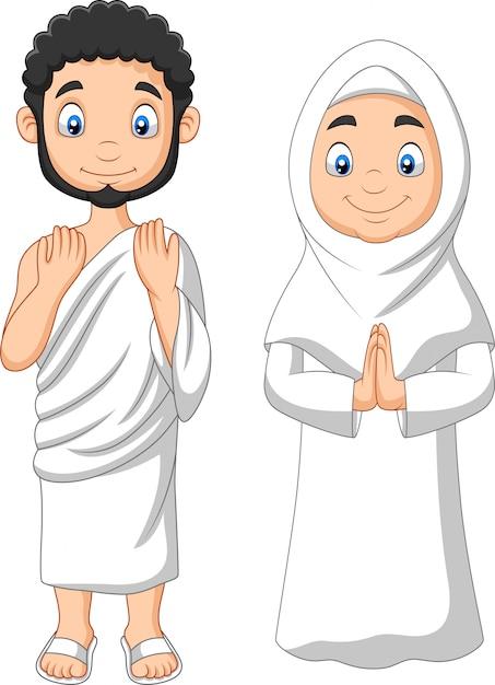 Kreskówka Muzułmański Mężczyzna I Kobieta Ubrana W Odzież Ihram Premium Wektorów