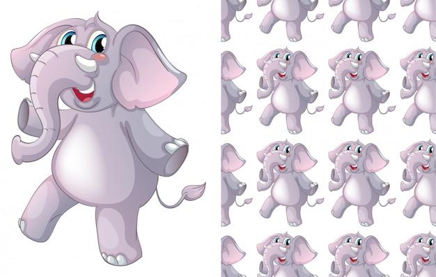 Kreskówka na białym tle słoń wzór zwierzę Darmowych Wektorów
