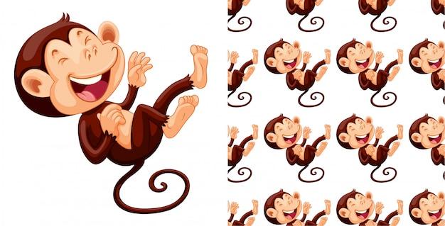Kreskówka na białym tle wzór małpa Darmowych Wektorów