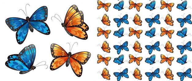 Kreskówka na białym tle wzór motyla Premium Wektorów