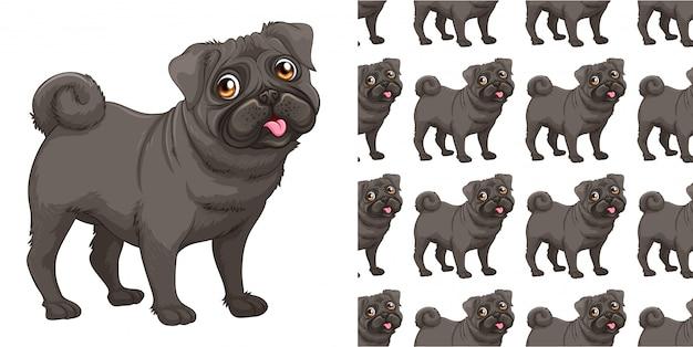 Kreskówka na białym tle wzór psa Premium Wektorów