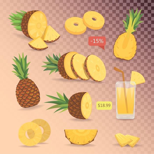 Kreskówka Na Białym Tle Zestaw ładny Ananasów. Kolekcja Pokrojony Ananas Na Siatce. Premium Wektorów