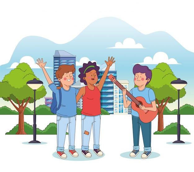Kreskówka nastolatek chłopak gra na gitarze dla pary Premium Wektorów