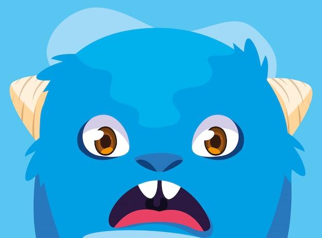 Kreskówka niebieski potwór Premium Wektorów