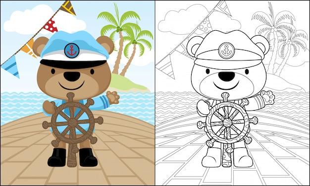 Kreskówka niedźwiedź na kierownicy na statku na morzu Premium Wektorów