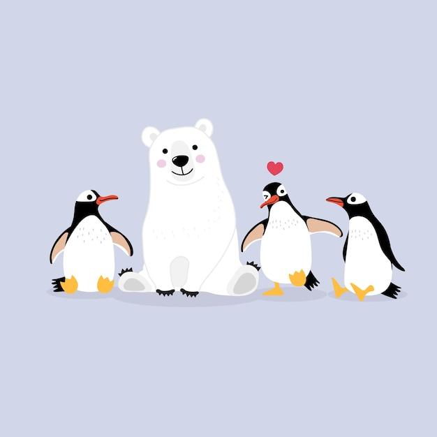 Kreskówka niedźwiedź polarny i pingwiny Premium Wektorów