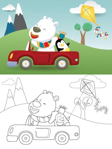 Kreskówka Niedźwiedź Polarny Jazdy Samochodem Z Małym Pingwinem Podczas Gry W Latawiec Na Tle Przyrody Premium Wektorów