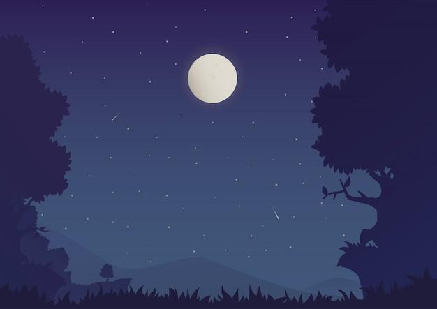 Kreskówka nocny krajobraz Premium Wektorów