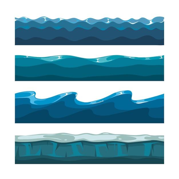 Kreskówka Ocean Lub Morze Fale Wektor Wzorców Premium Wektorów