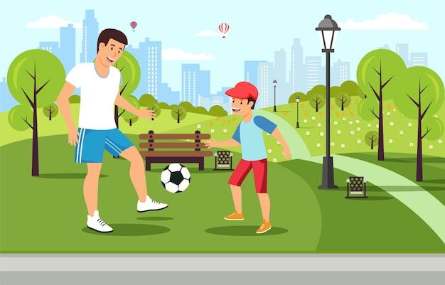Kreskówka Ojciec Bawić Się Futbol Z Synem W Parku Premium Wektorów