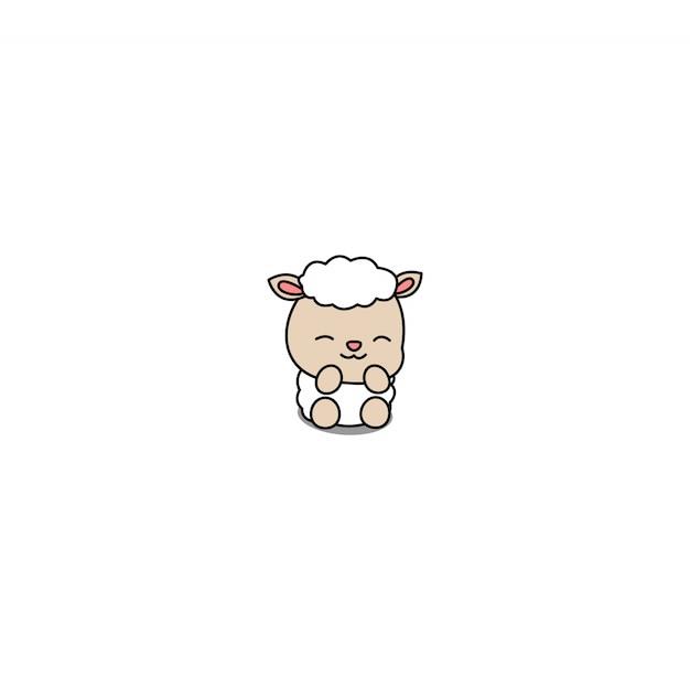 Kreskówka Owca Słodkie Dziecko Premium Wektorów